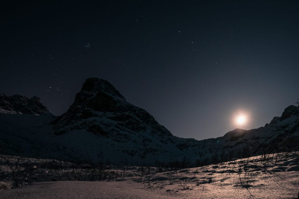 "A winter moon rising next to a mountain peak over the ice and snow covered slope, with the 3 unique values for LinkedIn profile customers of 10 Plus Profile, ""Decode, Create, Amplify"" and 10+ round logo printed on the photo's dark sky of night. 10 Plus Profile is a subdivision of the parent company www.10PlusBrand.com which is a full service branding and brand-marketing agency serving the San Francisco Bay Area, Silicon Valley, United States and globally."