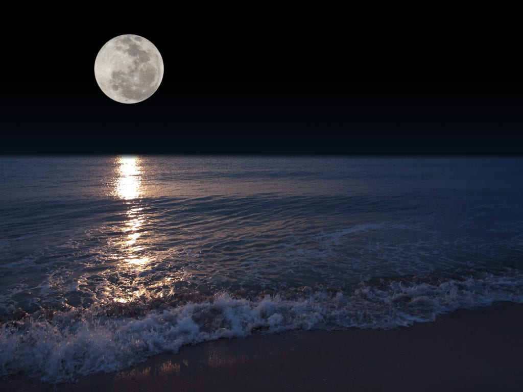 A large, round, bright and silver Moon over the waves of a nightly ocean that splashes ashore. This photo is the background for the content about the best value package for LinkedIn content creation, all verbal and visual, with business strategies, insights, go-to market analysis, customer profile analysis, short term and long term business planning advising and consulting, as well as monthly digital marketing, influencer marketing and social media content marketing enable by AI and machine learning. This is the jewel of the crown of www.10PlusProfile.com entire line of LinkedIn related products and services.