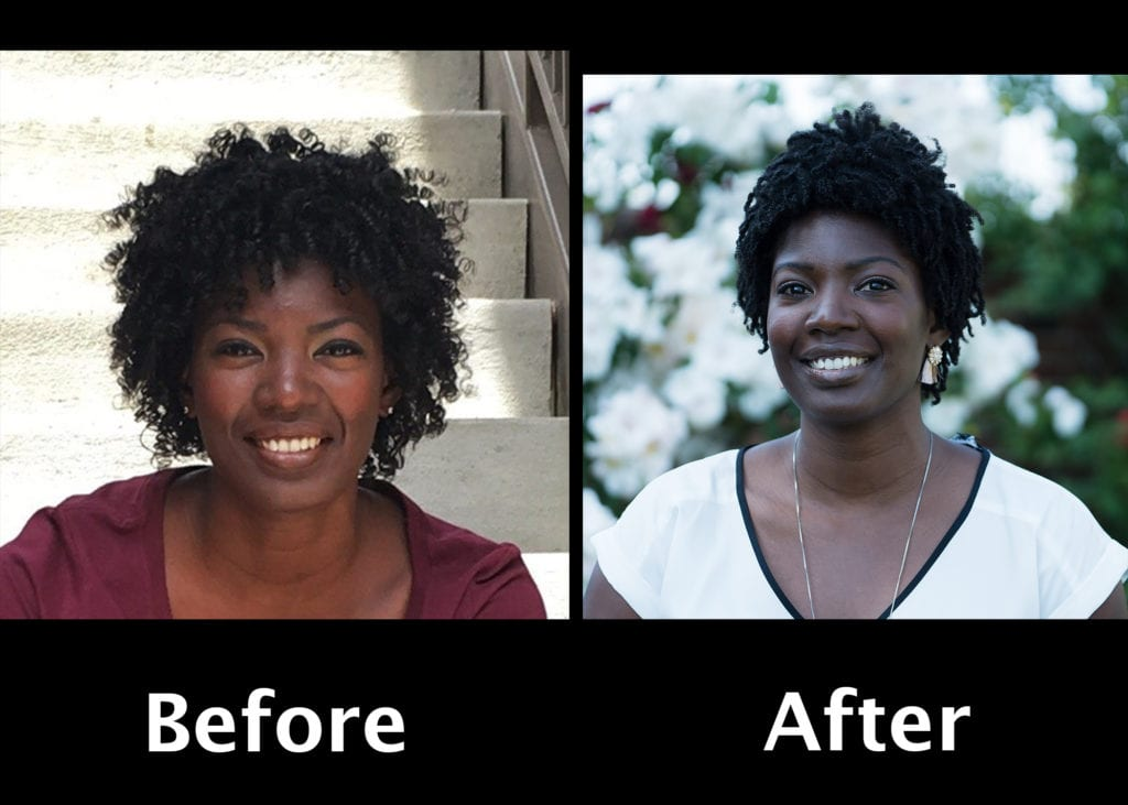 Before and after versions of a young African American young lady's LinkedIn headshot, in outdoor natural light, with award-winning photographer's clever use of alternating black and white both in her clothes' colors and the background, to highlight her smile and body posture indicating confidence and upbeat personality. This professional portrait photographer's artistry in using reflected light to cast softened light on her face and skin and eyes and facial expression and unique value proposition of the business professional's personal branding, as a visual branding element. by www.PoemAndArt.com