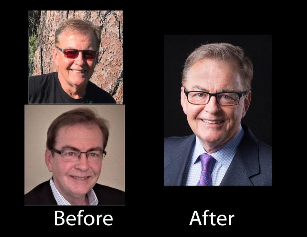 Before and after versions of a CFO's LinkedIn headshot, showing his experience and personality with studio photographic light. This professional portrait photographer's artistry in using light to brighten up the headshot and to show dimensionality and details of the close up facial expression contrasted by the picture's dark background, to bring out this financial accounting expert's warm and engaging brand character, and unique value proposition of the business professional's personal branding, as a visual branding element. by www.PoemAndArt.com