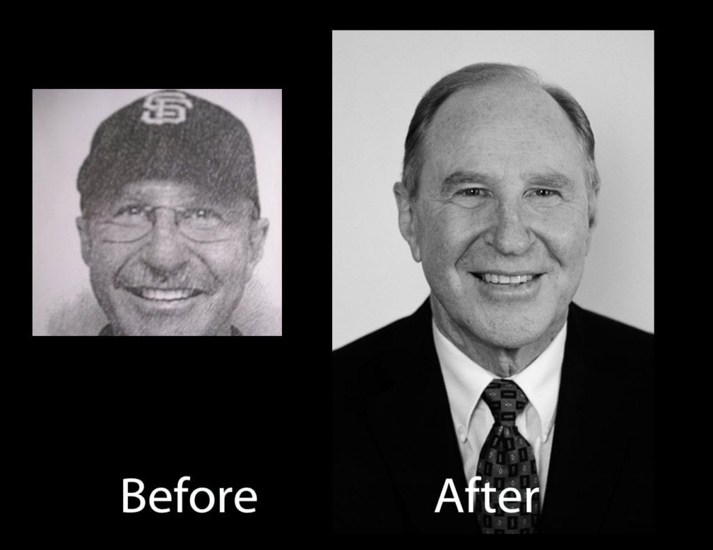 A black and white, before and after versions of a banker's LinkedIn headshot in studio professional photographic light, showing professionalism, personal branding persona, smile and body posture indicating kindness and trustworthy personality. This professional portrait photographer's artistry in using evenly casted softened light on his face and skin and eyes and facial expression of the business professional's personal brand, as a visual branding element. by www.PoemAndArt.com