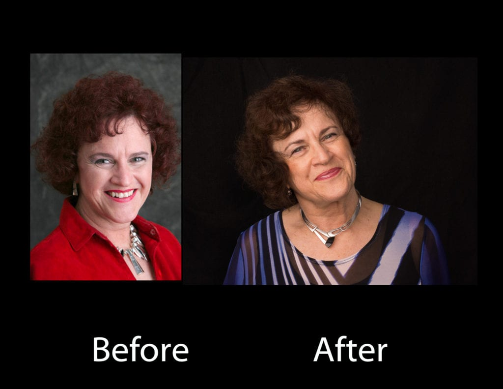 A before and after versions of a woman's LinkedIn headshot in studio professional photographic light, showing that even though her after version was older in age, it actually looked better and more interesting than her younger version in the before version, showing maturity, elegance, and artistic appeal of her clothing, enhancing her personal branding persona, smile and body posture indicating her own personality. This professional portrait photographer's artistry in using evenly casted softened light on her face and skin and eyes and facial expression of this interior designer's business professional's personal brand, as a visual branding element. by www.PoemAndArt.com