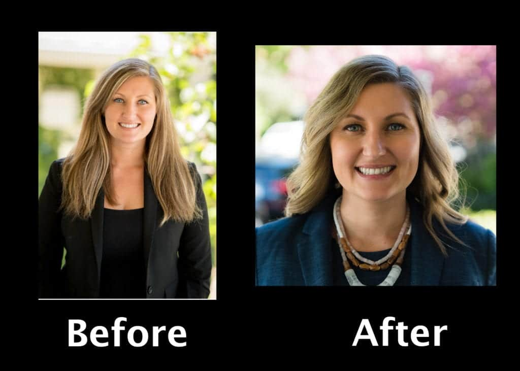 Before and after versions of a young woman attorney's LinkedIn headshot, showing the professional portrait photographer's artistry in photographic details of the close up facial expression contrasted by the picture's blurred background, to bring out the lawyer's warm and engaging brand persona, and unique value proposition of the business professional's personal brand, as a visual branding element. by www.PoemAndArt.com